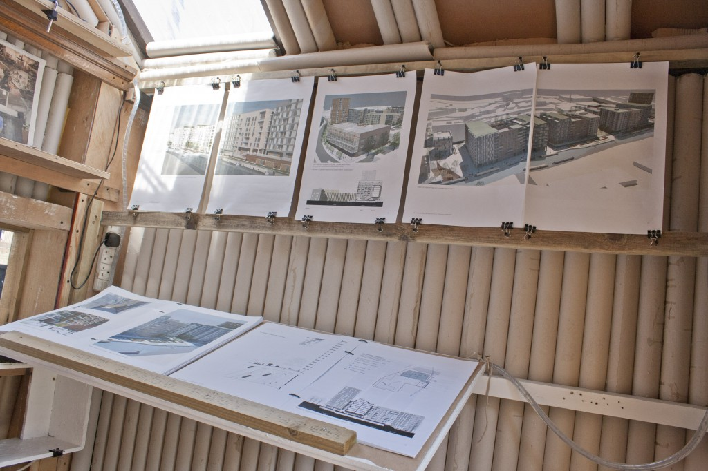 Neptune Wharf proposals on show inside of the mobile planning department