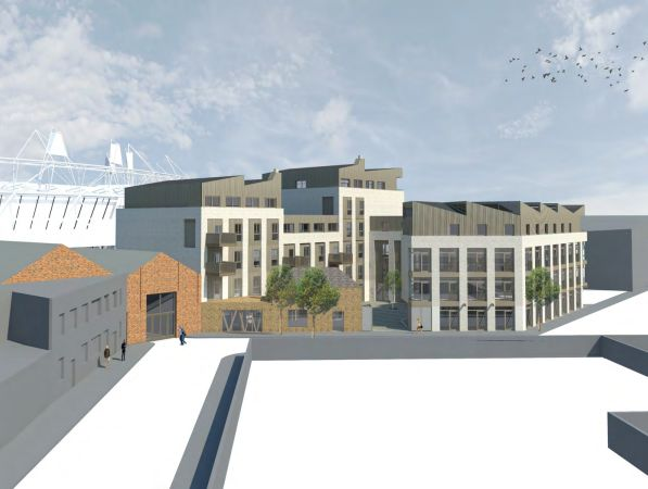 CGI of proposed development of Vittoria Wharf, showing Stour Space to the left.